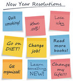 New year resolutions style sticky notes. Assorted fond hopes! New Year or general self improvement actions, each note easily separable for placement on page stock illustration