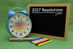 2017 New Year resolutions. Written on a small blackboard Stock Photos