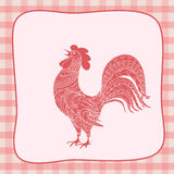 New year retro card with rooster. New year card with symbol of the year 2017 red rooster decorated en ethnic style on retro background. eps 10 Stock Photos
