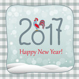 New year 2017 retro card with rooster. New year card with symbol of the year 2017 red rooster and  text Happy New Year 2017 on retro background. Design for cover Stock Photo