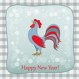New year   retro card with rooster. New year card with symbol of the year 2017 red rooster and  text Happy New Year on retro background.  eps 10 Stock Photography