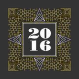 New Year 2016 retro hispter line monogram Stock Photo