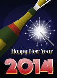 2014 New Year retro poster. 2014 New Yer retro poster with sparkler and shampagne Stock Image