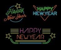 New year retro set label neon light star simple Stock Photography