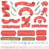 New year ribbons, badges,winter decor set Stock Images