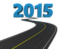 New year road. 3d illustration of road and new year sign 2015 Stock Photography