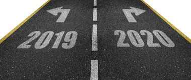 New year road markings. New and old year road markings with pointing arrows showing in opposite directions royalty free illustration