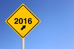 New Year Road Sign. New Year 2016 Road Sign with clear blue sky background Royalty Free Stock Images
