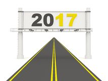 2017 New year on road sign. 3D illustration stock illustration