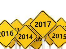 2017 New year on road sign. 3D illustration royalty free illustration