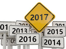 2017 New year on road sign. Stock Image