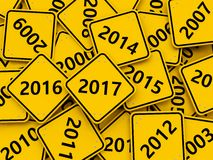 2017 New year on road sign. Royalty Free Stock Photo