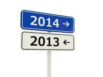 2014 New Year road sign. Isolated on white stock illustration