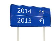 2014 New Year road sign. Isolated on white Royalty Free Stock Images
