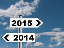 New year road sign, signpost. Stock Image
