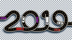 2019 New Year. The road is stylized as an inscription. Trucks and cars. Isolated On Transparent Background With Shadow. Vector Illustration stock illustration