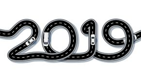 2019 New Year. The road is stylized in the form of an inscription. Freight and cars. Isolated. illustration. 2019 New Year. The road is stylized in the form of royalty free illustration