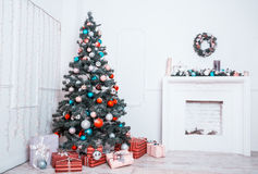 New year room with decorated Christmas tree Stock Photos