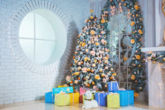 New year room with decorated Christmas tree Stock Photography