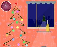 A New Year room interior with fir. Christmas tree, decoration and champagne. Vector illustration. A New Year room interior with fir. Christmas tree, decoration Royalty Free Stock Photos