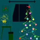A New Year room interior. Night, fir. Christmas tree, holly, decoration and champagne. Vector. A New Year room interior. Night, fir. Christmas tree, holly Stock Photos