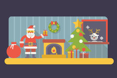 New Year Room Santa Claus with Gift Box and Bag. Christmas Accessories Icons Trendy Modern Flat Design Template Vector Illustration Stock Image