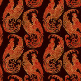 New year rooster as a symbol of the 2017 . Seamless pattern. Intricate linear drawing  the crowing  on contrast background. EPS10 Stock Photography