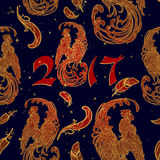 New year rooster as a symbol of the 2017 . Seamless pattern. Intricate linear drawing the crowing on contrast background. EPS10 ve Royalty Free Stock Image