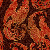New year rooster as a symbol of the 2017 . Seamless pattern. Intricate linear drawing the crowing on contrast background. EPS10 ve Stock Image