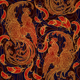 New year rooster as a symbol of the 2017 . Seamless pattern. Intricate linear drawing the crowing on contrast background. EPS10 ve. New year rooster as a symbol Stock Photo