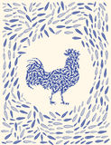 New-year-2017-rooster. Chinese calendar for year of rooster 2017. Cock - Symbol of New Year 2017. vector illustration. Decorative ornament and glyph shape fill Royalty Free Stock Image
