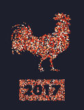 New-year-2017-rooster. Chinese calendar for year of rooster 2017. Cock - Symbol of New Year 2017. vector illustration. Decorative ornament and glyph shape fill Stock Photo