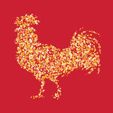 New-year-2017-rooster. Chinese calendar for year of rooster 2017. Cock - Symbol of New Year 2017. vector illustration. Decorative ornament and glyph shape fill Stock Images