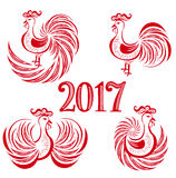 New year rooster set Royalty Free Stock Images