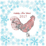 New Year Rooster in showflakes frame. Vector illustration Stock Image