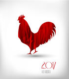 2017 New Year of rooster. Stylized red rooster on a light background. Vector illustration. 2017 New Year of rooster. Stylized red rooster on a light background Stock Photography