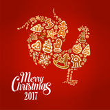 New Year rooster symbol with Christmas gingerbread Royalty Free Stock Images