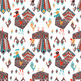 New Year Roosters. New Year design for wrapping paper. Roosters on white backdrop Royalty Free Stock Photography