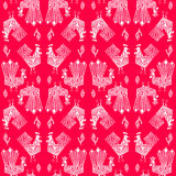 New Year Roosters. New Year design for wrapping paper. White Roosters on red backdrop Stock Images