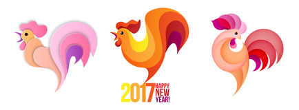 New Year roosters set. Silhouette, stylized and cartoon roosters. Rooster - symbol of year 2017. Red and Gold Traditional Colors. Vector illustration Royalty Free Stock Photos