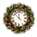 2017 New Year round clock. 2017 New Year round clock with Christmas wreath. Vector illustration Royalty Free Stock Image