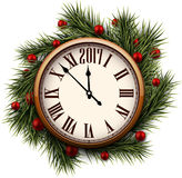 2017 New Year round clock. 2017 New Year round clock with fir branches. Vector illustration Royalty Free Stock Photos