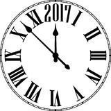 2017 New Year round clock. Royalty Free Stock Images