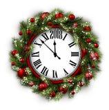 2018 New Year round clock. 2018 New Year round clock with Christmas wreath. Vector illustration Royalty Free Stock Photo