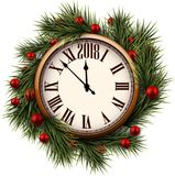 2018 New Year round clock. 2018 New Year round clock with fir branches. Vector illustration Stock Photo