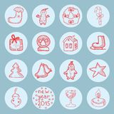 New year round icons flat set. Vector graphic illustration design art Royalty Free Stock Photography
