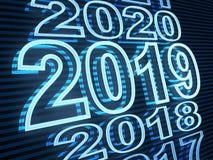 New year row date 2019, blue light. 3d illustration vector illustration