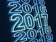 New year row date 2017, blue light. (done in 3d rendering Royalty Free Stock Photos