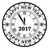 New year 2017 rubber stamp design with a clock, vector. Background of black and white new year 2017 rubber stamp design with a clock, vector stock illustration