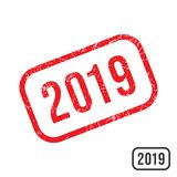 2019 New year rubber stamp with grunge texture design. 2019 rubber stamp with grunge texture design. Vector illustration royalty free illustration